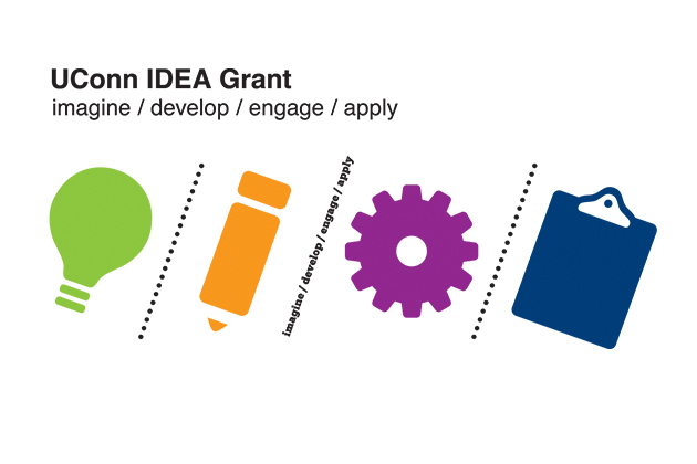 The visual identity for the IDEA Grant is derived from the four stages of the grant process, Imagine, Develop, Engage, Apply. The symbols are intended to be universally applicable, since the grant is designed to embrace a wide variety of projects.