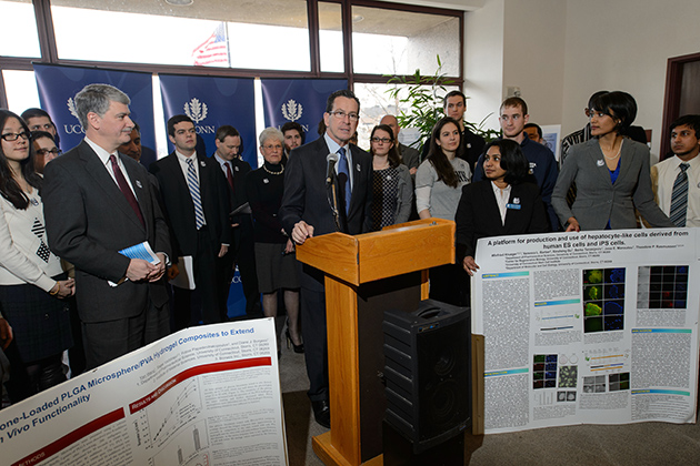 Governor Dannel P. Malloy speaks at a press conference in support of the Next Generation Connecticut initiative at the Legislative Office Building on March 4, 2013. (Peter Morenus/UConn Photo)