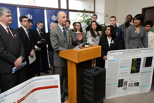 Rep. Greg Haddad '89 (CLAS) speaks at a press conference in support of the Next Generation Connecticut initiative at the Legislative Office Building on March 4, 2013. (Peter Morenus/UConn Photo)