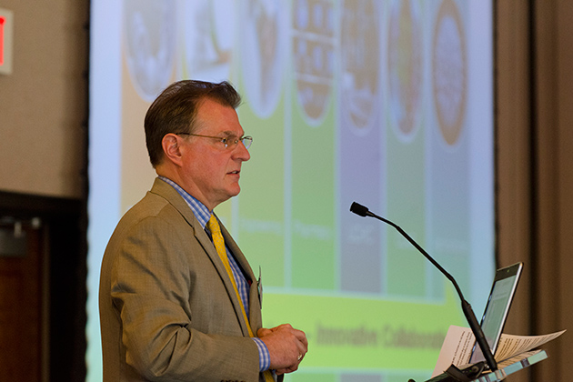 Tim Hunter, director and department head of digital media, speaks at the Digital Media Symposium held in the Rome Ballroom on April 4, 2013. (Ariel Dowski/UConn Photo)