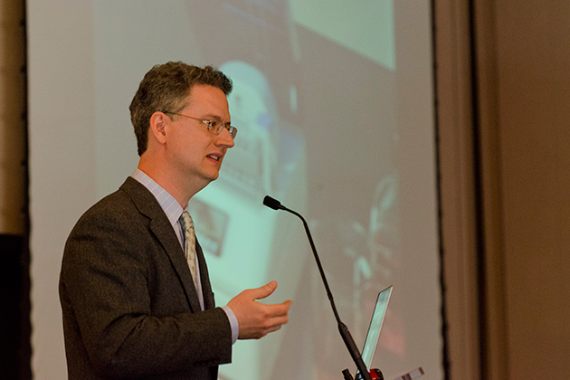 Gaël McGill speaks at the Digital Media Symposium held in the Rome Ballroom on April 4, 2013. (Ariel Dowski/UConn Photo)