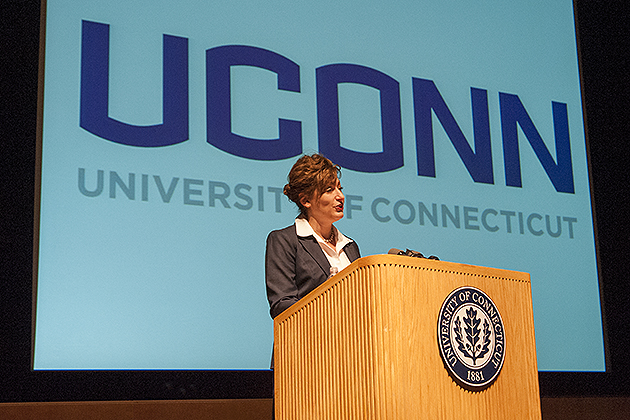 The new primary wordmark in all capital letters is at the center of the University's visual identity announced by President Herbst today. (Sean Flynn/UConn Photo)
