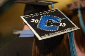 Danielle Ruderman of Trumbull wears a decorated mortarboard during the Neag School of Education Commencement ceremony held at the Jorgensen Center for the Performing Arts on May 12, 2013. (Peter Morenus/UConn Photo)