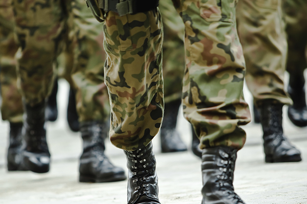 Soldiers of the armed forces marching