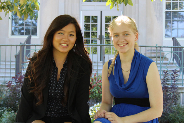 This summer, Sharon Hwang, a senior human rights and international relations double major (left), and Molly Rockett, a junior political science major, participated in internships spearheaded by UConn alumni in the nation's capital, Washington D.C. (Samantha Ruggiero '14 (CLAS)/UConn Photo)