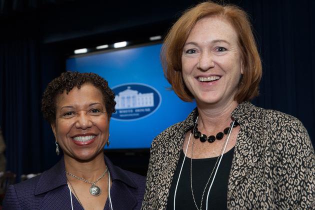 UConn School of Social Work Dean Salome Raheim (left) with Darla Spence Coffey, president of the Council on Social Work Education (CSWE), during a recent White House briefing on the importance of social workers during and after implementation of the Patient Protection and Affordable Care Act. (Photo courtesy of the Council on Social Work Education.)