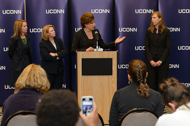 President Herbst addressed trustees and the media today, in light of allegations made against the University earlier this week. Shown from left, Nicole Gelston, associate general counsel; Barbara O'Connor, chief of police; University President Susan Herbst; Elizabeth Conklin, associate vice president for diversity and equity. (Peter Morenus/UConn Photo)