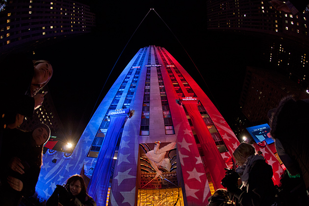 The tower of the Rockefeller Center was bathed in red, white, and blue lighting. (Anthony Quintano/NBC News)