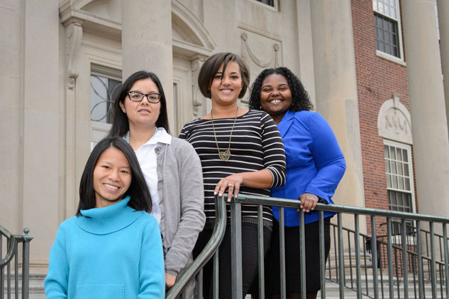The first Vice Provost for Diversity Pre-doctoral and Post MFA In-Residence Fellows, from left, Quan Tran, Melissa Huerta, Amanda Almond, and LaToya Eaves. (Peter Morenus/UConn Photo)