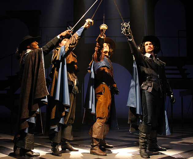'All for One' From left, students Thomas Brazzle (Athos), Anthony J. Goes (Porthos), Will Haden (D'Artagnan), and James Jelkin (Aramis) star in The Three Musketeers at Connecticut Repertory Theatre from Nov. 21 through Dec. 8 in the Harriet S. Jorgensen Theatre. (Gerry Goodstein for UConn)
