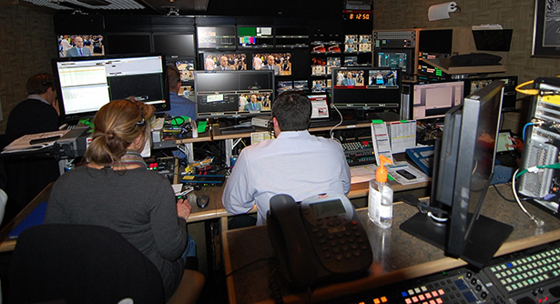 An overview of the main section of the ESPN GameDay production truck, showing how small the space is. (Ken Best/UConn Photo)