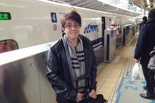 Professor Anson Ma takes the Shinkansen (high-speed train) from Tokyo to Kyoto, during a five-day trip to Japan as part of the Young Scientist Exchange. (Photo courtesy of Anson Ma)