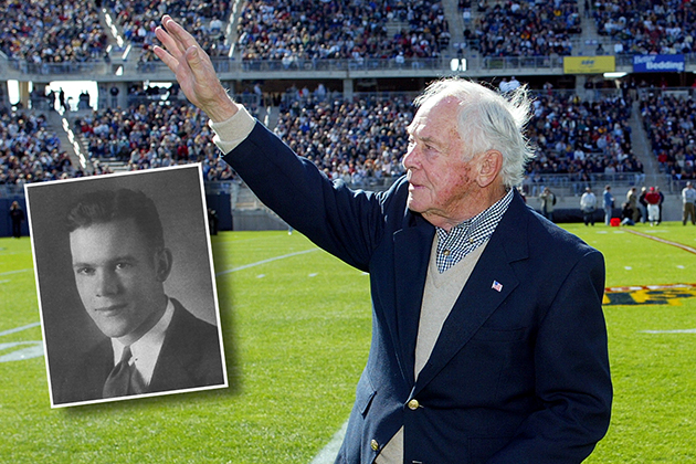Joseph McCormick, a 1934 graduate and UConn's oldest known football alum, waves to the crowd at Rentschler Field during a ceremony to honor him in 2003. (UConn Athletic Communications Photo) Inset: McCormick's photo from the 1993 Nutmeg Yearbook.
