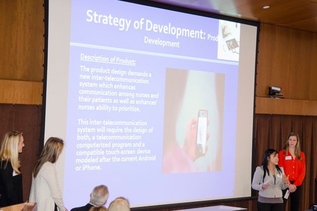 Teams not only had to suggest ideas for new inventions, they were called upon to explain aspects of development, production, and marketing. (Sheila Foran/UConn Photo)