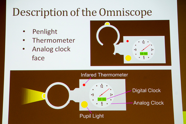 Among the ideas presented was an Omniscope, a device that combines a penlight, a thermometer, and and both analog and digital clocks. (Sheila Foran/UConn Photo)