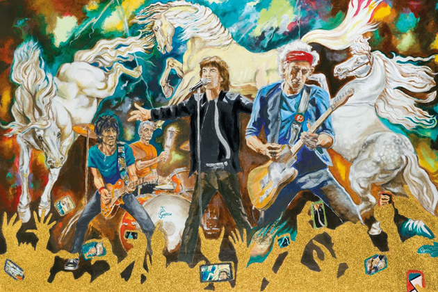 Painting on canvas by Ronnie Wood - Electric Horses (Photo courtesy of Washington Green Fine Art, UK)