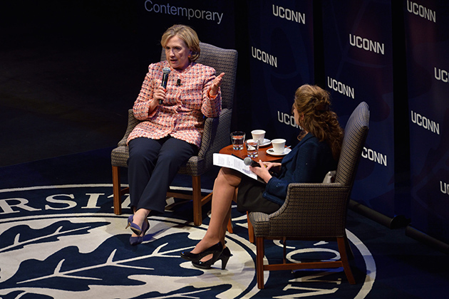 Hillary Clinton answers questions read by President Susan Herbst during The Edmund Fusco Contemporary Issues Forum held at the Jorgensen Center for the Performing Arts on April 23, 2014. (Peter Morenus/UConn Photo)
