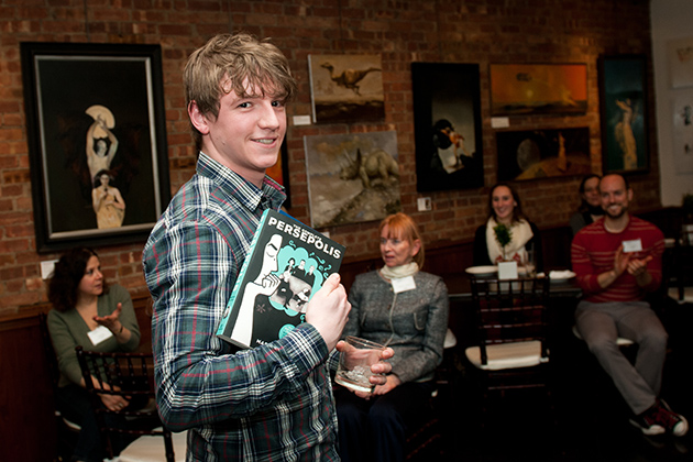Shaun Kelly '11 (SFA) was one of the alums at the UConn Reads event in New York City. (Elzbieta Kaciuba for UConn)
