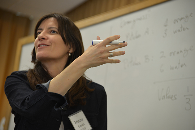 Fabiana Cardetti, associate professor of mathematics, works with teachers from three Connecticut school districts on issues related to math instruction for Common Core. (Shawn Kornegay/UConn Photo)