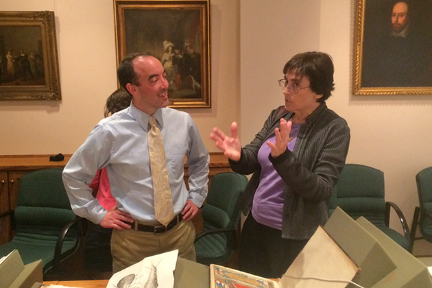Shirley Roe, associate dean for humanities in the College of Liberal Arts and Sciences, and Brendan Kane, associate professor of history and associate director of the Humanities Institute, at the Folger Shakespeare Library in Washington, D.C. (Gregory Semenza/UConn Photo)