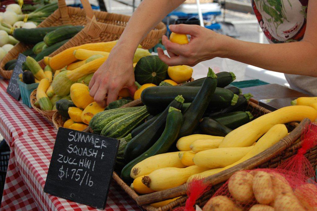 Farmers markets provide an abundance of locally grown fruits and vegetables.