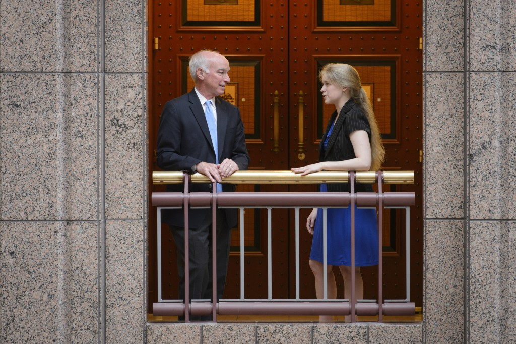 Senior Molly Rockett '15 (CLAS) reconnects with U.S. Rep. Joe Courtney '78 JD, for whom she previously interned.