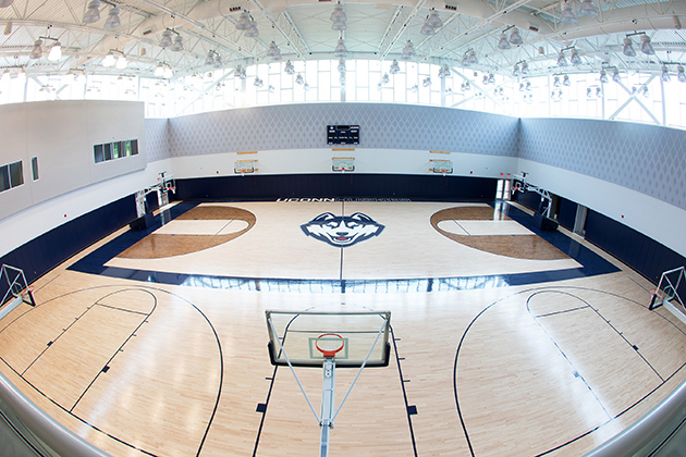 A view of the interior of the practice facility at the Werth Family UConn Basketball Champions Center. (Athletic Communications/UConn Photo)