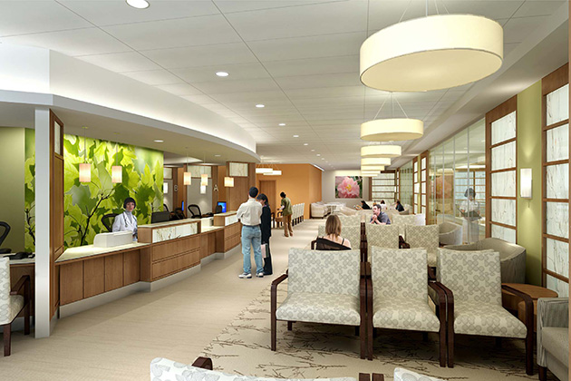 A reception area on the second floor. (Rendering by Perkins Eastman)