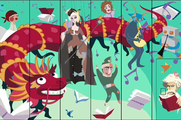 The design selected for the mural incorporates a dragon puppet, music notes, and an image of Mark Twain. (Ian Brady '15 (SFA), Michelle Hawran '16 (SFA), Amanda Pokorny '14 (SFA), and Natassje Unger '15 (SFA)