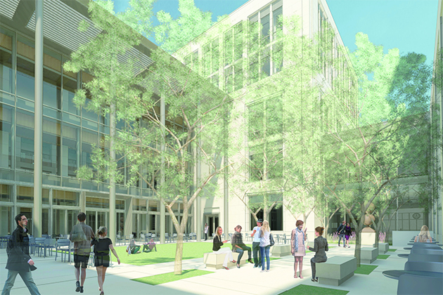 Courtyard view looking northeast. The exterior courtyard and interior atrium will join the Hartford Times Building to a new five-story building. (Rendering by HB Nitkin Group, Ramba, Robert A.M. Stern Architects LLP)