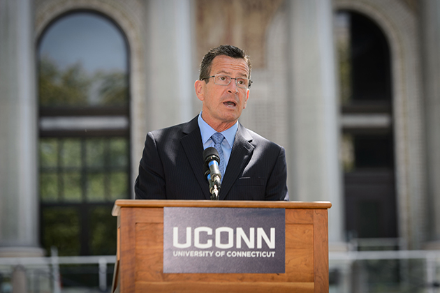 Governor Dannel Malloy speaks during the groundbreaking ceremony for the new downtown Hartford Campus on May 18, 2015. (Peter Morenus/UConn Photo)