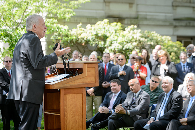 Larry McHugh, chair of the board of trustees, speaks during the groundbreaking ceremony for the new downtown Hartford Campus on May 18, 2015. (Peter Morenus/UConn Photo)