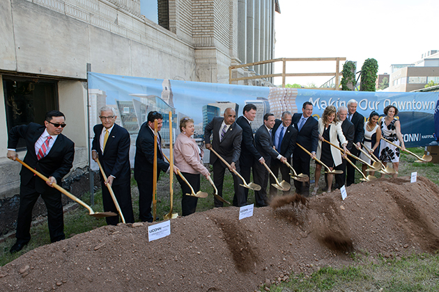 The ceremonial groundbreaking for the new downtown Hartford Campus on May 18, 2015. (Peter Morenus/UConn Photo)