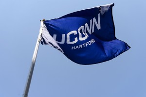 A UConn flag now flies at the site of the new downtown Hartford Campus on May 18, 2015. (Peter Morenus/UConn Photo)