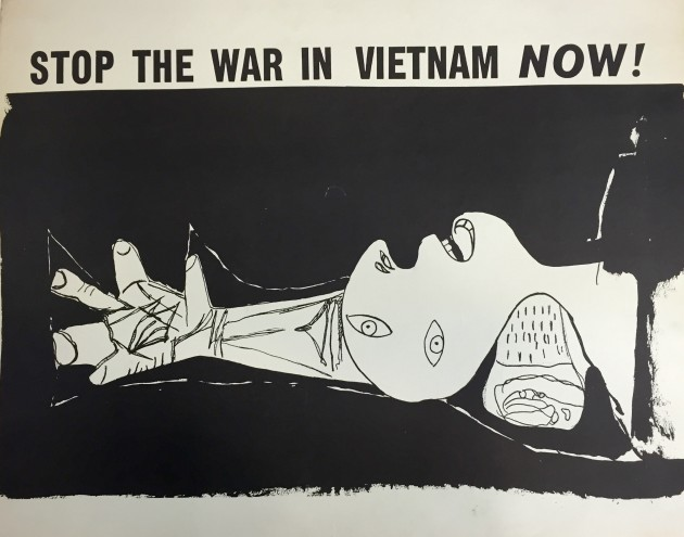A poster, 'Stop the War in Vietnam Now!' (c. 1970 offset print), features a detail from Pablo Picasso's 'Guernica,' a 1937 painting that protested the Spanish Civil War.