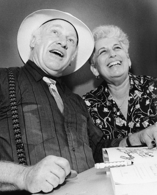 Ken Kesey, author of 'One Flew Over the Cuckoo's Nest,' with Ann Charters, professor of English, at a book-signing at the UConn Co-op. (Photo by Joseph Szalay)