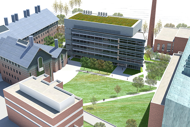 An architect's rendering of the new Engineering & Science Building seen from above. (Rendering courtesy of Mitchell/Giurgola Architects)