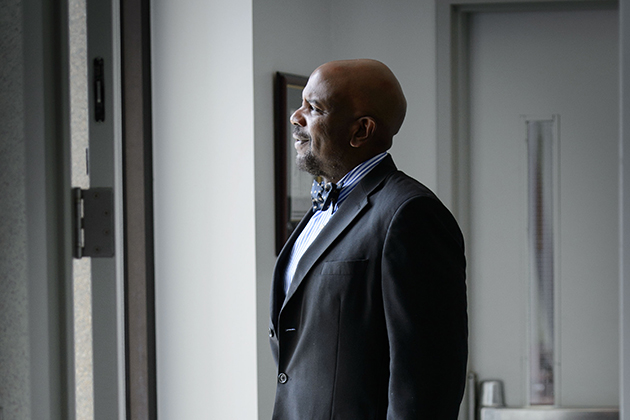 Dr. Cato Laurencin at his office at UConn Health in Farmington. (Peter Morenus/UConn Photo)