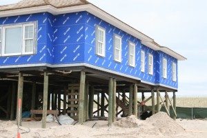 Preparing for future storms, homes were rebuilt along the coast after Hurricane Sandy. (Photo courtesy of Kara Bonsack UConn CLEAR)