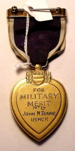 The Purple Heart Medal is awarded to those members of the military wounded in battle.