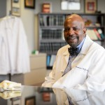 Cato Laurencin at his office at UConn Health in Farmington on Oct. 6, 2014. (Peter Morenus/UConn Photo)