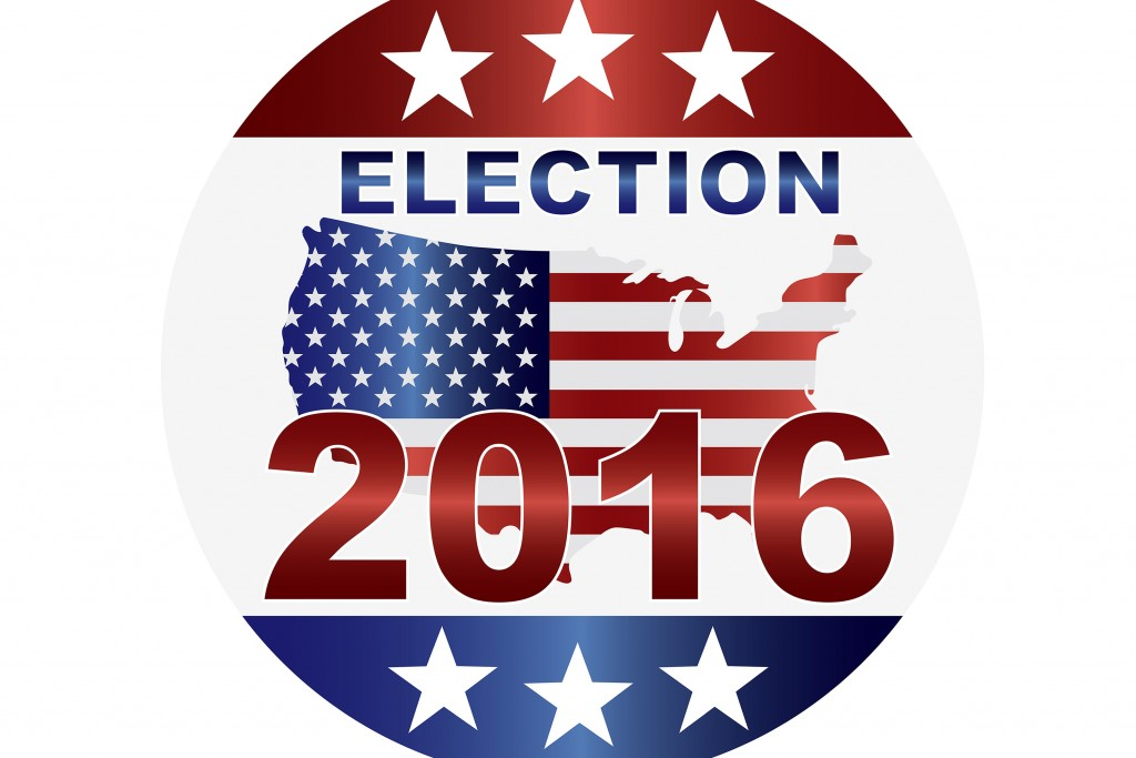 Election 2016 button with US flag map in map silhouette. (iStock Image)