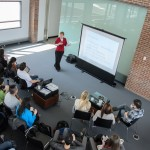 Lauren Schlesselman, associate dean for academic affairs in the School of Pharmacy and coordinator of the Pharmacy LEADERS Track, speaks to pharmacy students about the Pharmacy Leadership Program. (Ariel Dowski '14 (CLAS)/UConn Photo)