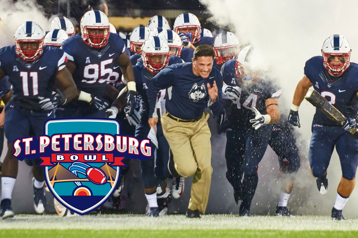 The Huskies will play in the St. Petersburg Bowl at Tropicana Field in St. Petersburg, Fla. (Peter Morenus/UConn Photo)