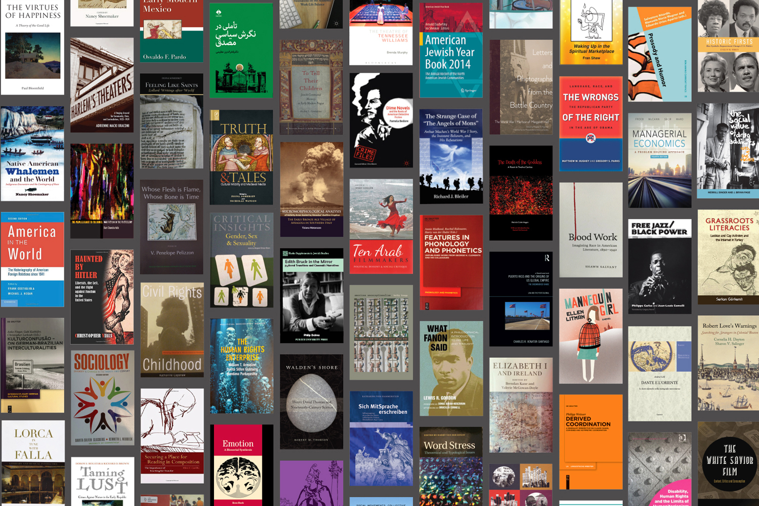 A selection of books by UConn authors in the humanities and related disciplines. (CLAS/UConn Photo)
