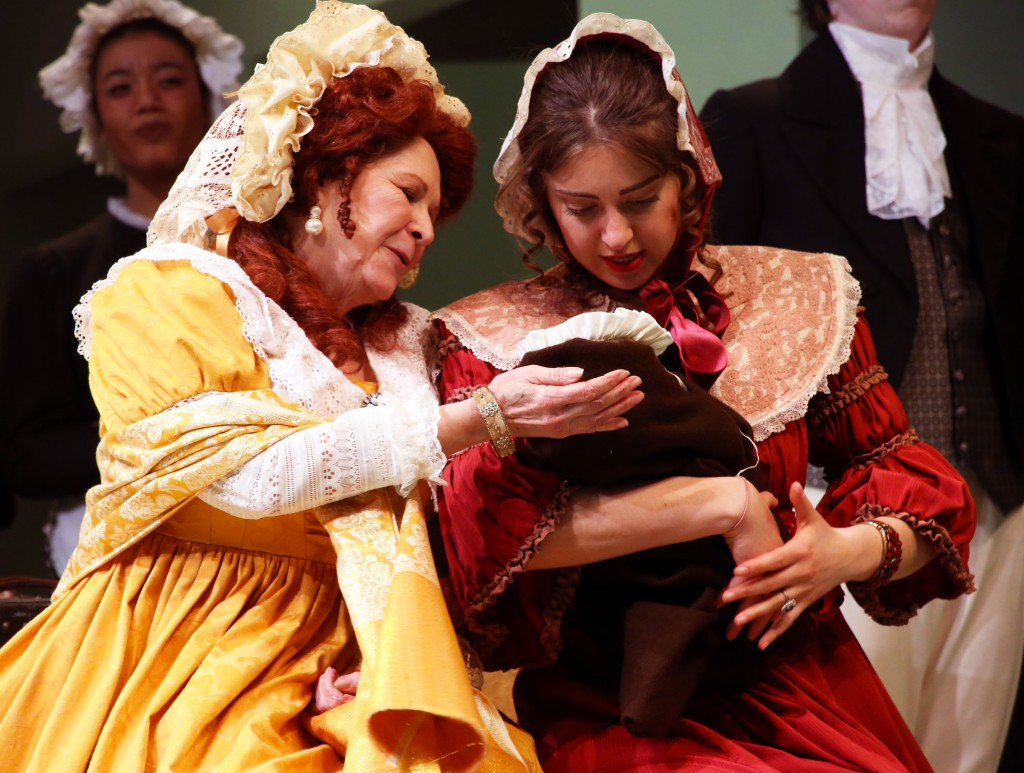 Guest artist Cynthia Darlow (Mrs. Jennings) and Jenn Sapozhnikov, '17 (SFA) (Mrs. Palmer) in the CRT production of 'Sense and Sensibility,' now playing at the Harriet Jorgensen Theatre. (Gerry Goodstein for UConn)