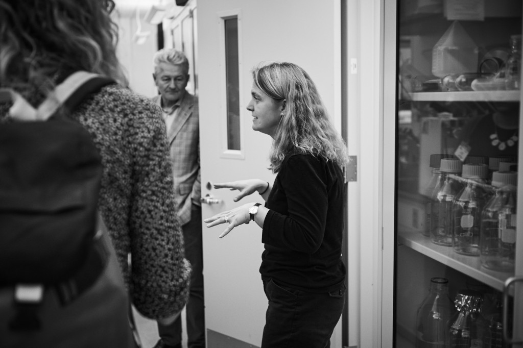 Stormy Chamberlain leads journalists on a tour of her lab at the Cell and Genome Sciences Building in Farmington on March 15, 2016. (Peter Morenus/UConn Photo)