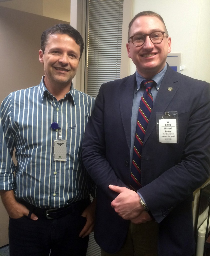Michael Pettes, right, assistant professor of mechanical engineering, with José Lage, program director of the NSFCBET Thermal Transport Processes program, through which Pettes' CAREER award is funded. (School of Engineering/UConn Photo)