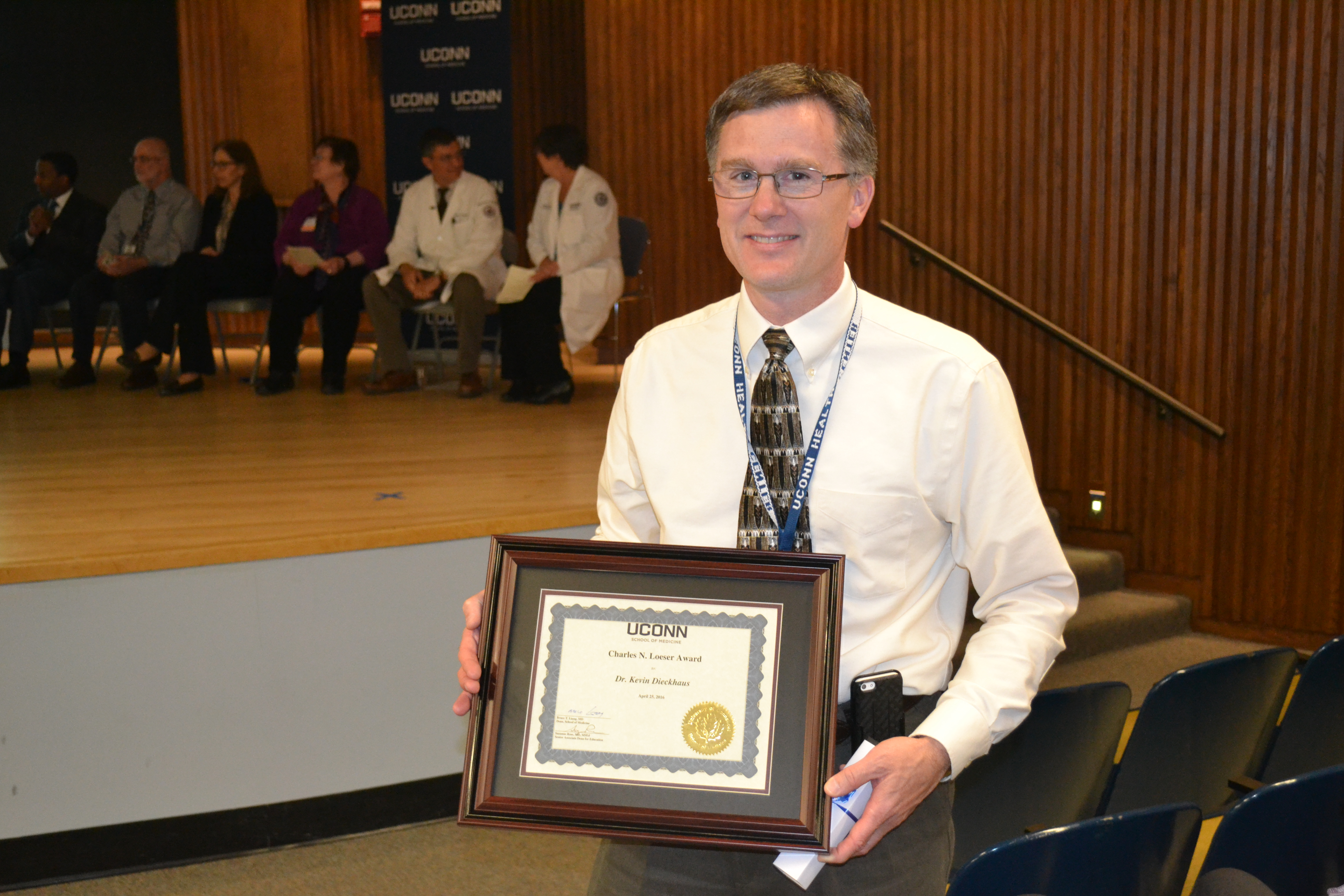 Chief of Infectious Diseases Dr. Kevin Dieckhaus won this year's Loeser Award during the School of Medicine's Spring Awards Night ceremony April 25, 2016. (Photo by Carolyn Pennington)