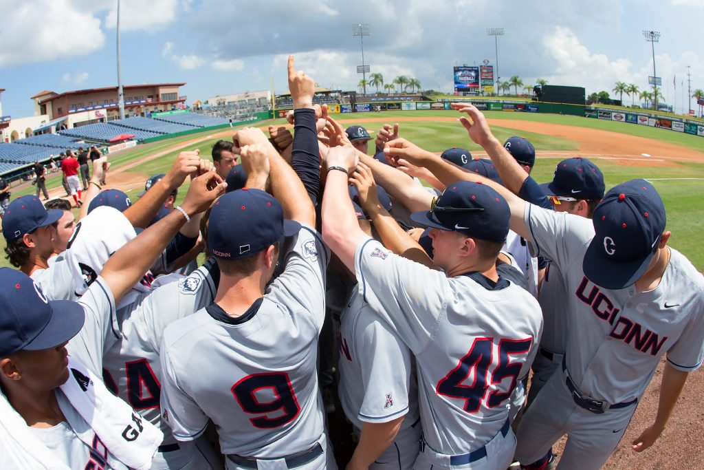 The UConn baseball team at Bright House Field in Clearwater, Fla., for the 2016 AAC Championship game. (Stephen Slade '89 (SFA) for UConn)